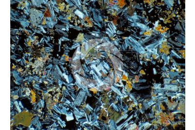Diorite. Biella. Lombardy. Italy. Thin section in cross polarized light. 32X
