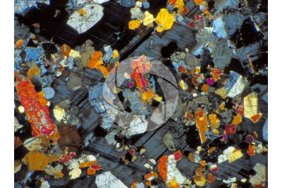 Nero Africa Granite. South Africa. Thin section in cross polarized light. 32X