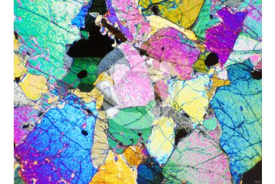 Peridotite. Finero. Piedmont. Italy. Thin section in cross polarized light with lambda filter. 32X