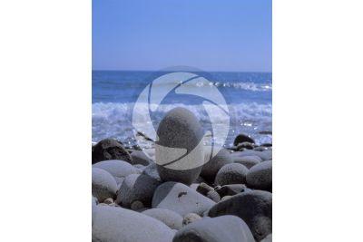 Shingle beach. Capo Pecora. Sardinia. Italy
