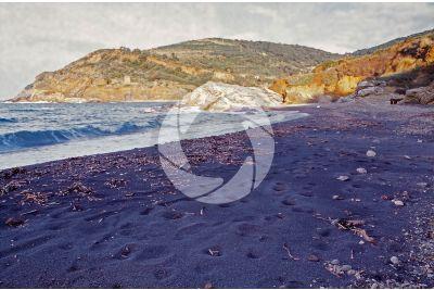 Beach with Hematite. Terra Nera. Elba. Tuscany. Italy
