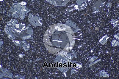 Andesite. Costa Rica. Thin section in cross polarized light. 32X