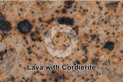 Lava with Cordierite. Lipari. Aeolian Islands. Sicily. Italy. Polished section. 2X
