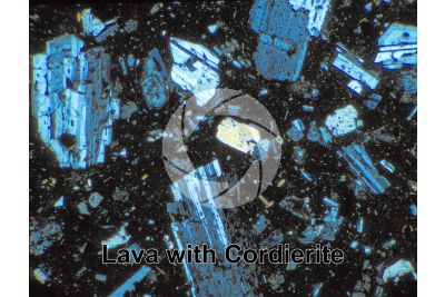 Lava with Cordierite. Lipari. Aeolian Islands. Sicily. Italy. Thin section in cross polarized light. 32X