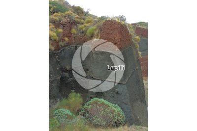 Lapilli. Pyroclastic rock. Salina. Aeolian Islands. Sicily. Italy