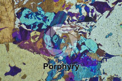 Porphyry. Cuasso al Monte. Lombardy. Italy. Thin section in cross polarized light with lambda filter. 32X