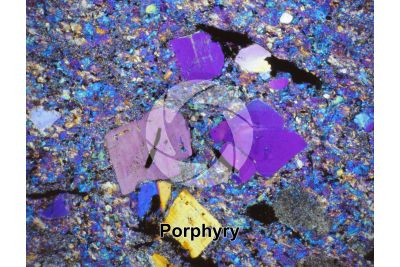 Porphyry. Val Camonica. Lombardy. Italy. Thin section in cross polarized light with lambda filter. 32X