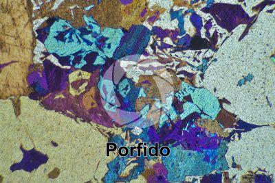 Porfido. Cuasso al Monte. Lombardia. Italia. Sezione sottile in luce polarizzata a Nicol incrociati con filtro lambda. 32X