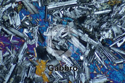 Gabbro. Siberia. Thin section in cross polarized light. 32X