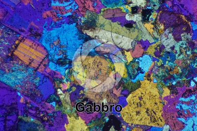 Gabbro. Thin section in cross polarized light with lambda filter. 32X