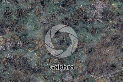 Gabbro. Siberia. Sezione lucida. 2X