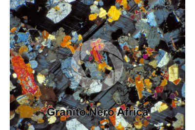 Granito Nero Africa. Sudafrica. Sezione sottile in luce polarizzata a Nicol incrociati. 32X