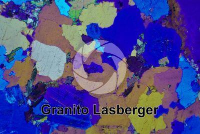 Granito Lasberger. Austria. Sezione sottile in luce polarizzata a Nicol incrociati con filtro lambda. 32X