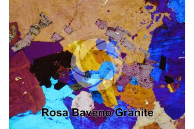 Rosa Baveno Granite. Piedmont. Italy. Thin section in cross polarized light with lambda filter. 32X