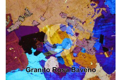 Granito Rosa Baveno. Piemonte. Italia. Sezione sottile in luce polarizzata a Nicol incrociati con filtro lambda. 32X