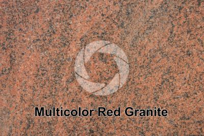 Multicolor Red Granite. Karnataka. India. Polished section