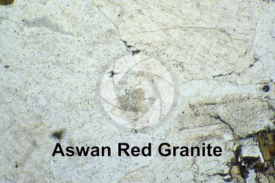 Aswan Red Granite. Egypt. Thin section in plane polarized light. 32X