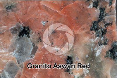 Granito Aswan Red. Egitto. Sezione lucida. 2X