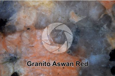 Granito Aswan Red. Egitto. Sezione lucida. 7X