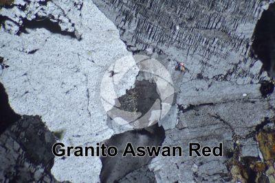 Granito Aswan Red. Egitto. Sezione sottile in luce polarizzata a Nicol incrociati. 32X