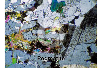 Pegmatite. Sezione sottile in luce polarizzata a Nicol incrociati. 32X