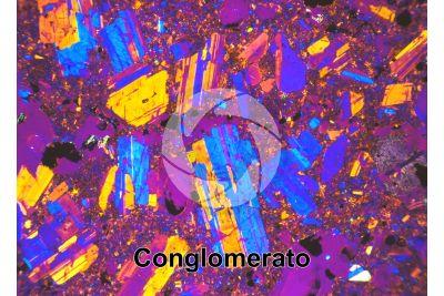 Conglomerato. Sezione sottile in luce polarizzata a Nicol incrociati con filtro lambda. 32X