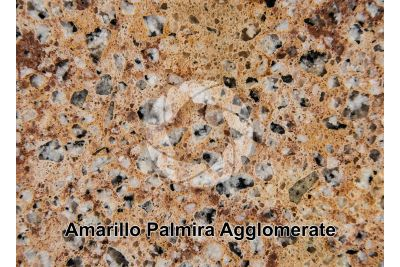 Artificial agglomerated stone. Amarillo Palmira. Polished section. 1X