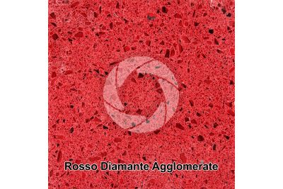 Artificial agglomerated stone. Rosso Diamante. Polished section. 1X