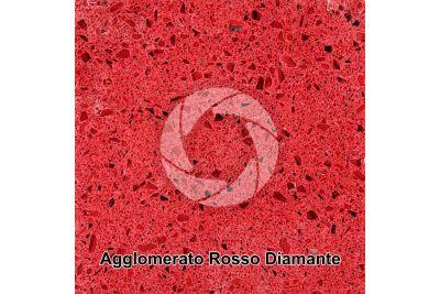 Agglomerato artificiale. Rosso Diamante. Sezione lucida. 1X