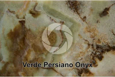 Verde Persiano Onyx. Damqan. Iran. Polished section. 1X