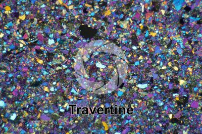 Travertine. Val Taleggio. Lombardy. Italy. Thin section in cross polarized light with lambda filter. 32X