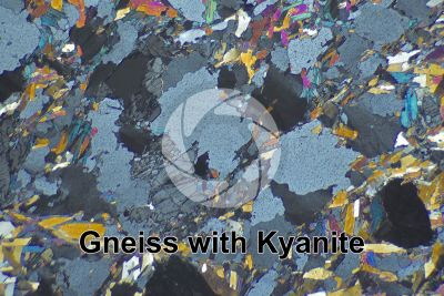 Gneiss with Kyanite. Sole Valley. Trentino Alto Adige. Italy. Thin section in cross polarized light. 32X