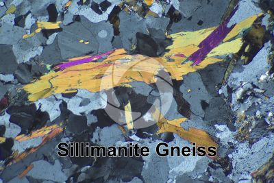 Sillimanite Gneiss. Mount Gavia. Lombardy. Italy. Thin section in cross polarized light. 32X