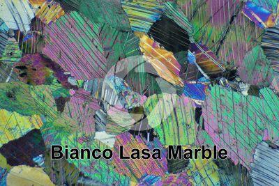Bianco Lasa Marble. Trentino Alto Adige. Italy. Thin section in cross polarized light. 32X