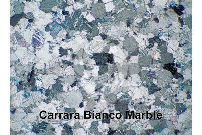 Bianco Carrara Marble. Carrara. Tuscany. Italy. Thin section in cross polarized light. 32X