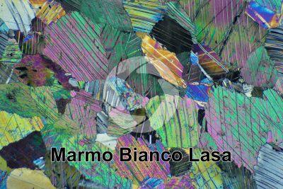 Marmo Bianco Lasa. Trentino Alto Adige. Italia. Sezione sottile in luce polarizzata a Nicol incrociati. 32X