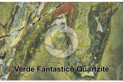 Verde Fantastico Quartzite. Brazil. Polished section