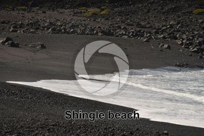Shingle beach. Lanzarote. Canary Islands. Spain