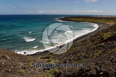 Spiaggia sassosa. Lanzarote. Isole Canarie. Spagna