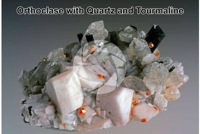 Orthoclase with Quartz and Tourmaline